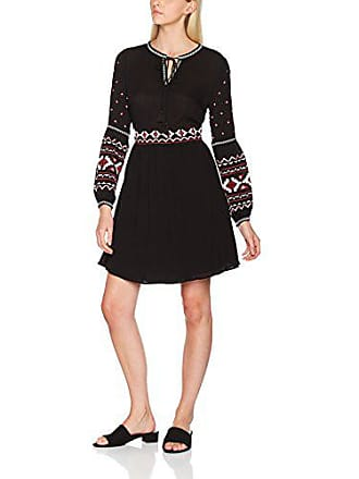 Folk Mary Mujer 10 Para Smock New black Look Vestido Negro Embroidered qTcpWE5w