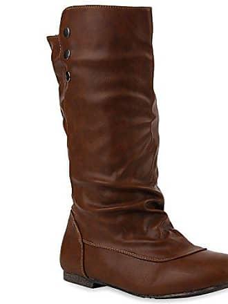 Bequeme Flandell Stiefel 110695 Schuhe Stiefelparadies Hochschaft Dunkelbraun Flache 36 Stiefeletten Damen dqxcgv