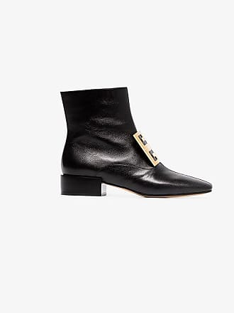 Leather Low Ankle Boots Black Givenchy Heel 4g FwanqWv7S