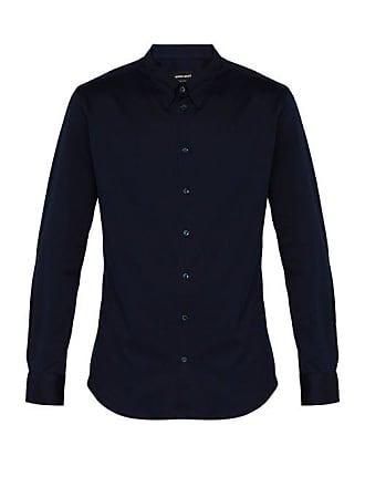 Slim Navy Cotton Fit Giorgio ShirtMens Armani L4A5Rj
