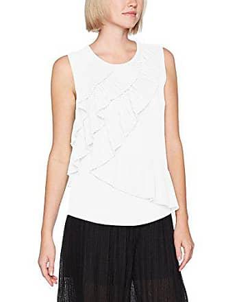 Top avorio Sleevless 074 donna Camicetta blusa piccola con volant Sisley offwhite per 8E5v4xwAq