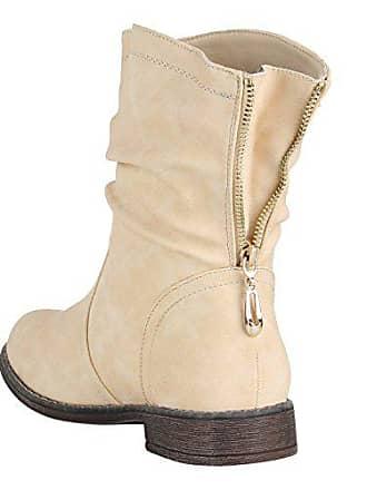 Schlupfstiefel Flandell Stiefeletten Gefütterte Schuhe 38 149573 Creme Stiefel Zipper Berkley Stiefelparadies Damen TEwPqgwU