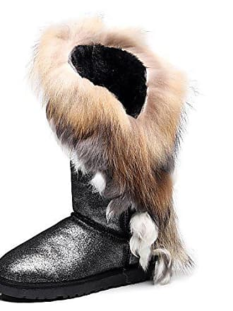 Schwarz Thermisch Wildleder Sn2810 High Wool Mittelkalb Winterstiefel Jamron Schneestiefel Funkeln Futter end Eu38 Elegant Damen wq7xASpY