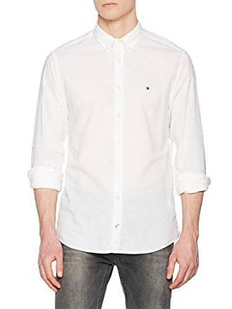 100 Camisa bright Hilfiger Linen Para Shirt Hombre Cotton White Medium Tommy Blanco IAqwHpvn