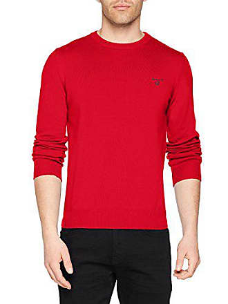 Rouge neck V Homme Gant Pull Small bright Red Cotton Sweater Summer Y51qEY