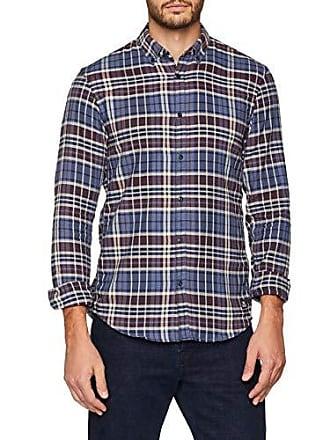 Langärmliges Camisa Azul 14035 Medium Tailor Denim College Check Para Freizeithemd blue Hombre Karriertes Tom EXqS8