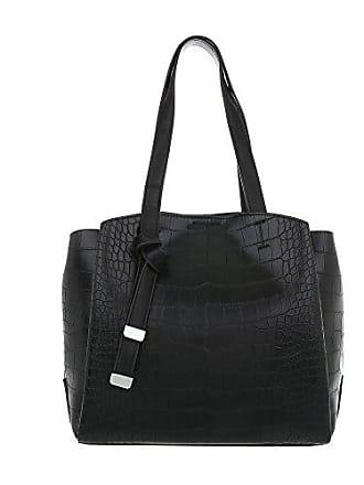 Damen Kunstleder Schultertasche Handtasche Ital design Mittelgroße Schwarz 68FFx