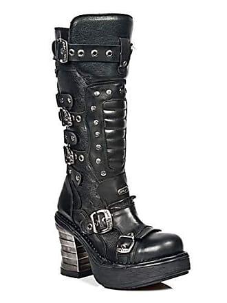 Ferse 8353 Schnüren M Rock Schwarz Damen Leder Heavy Gotisch New Mädchen Schnallen s1 Glattleder Stiefel Hoch xwP7qBS5E