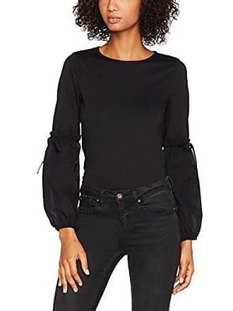 shirt Ls Femme Longues T New Puff 1 black Woven 38 Look Noir Manches Bfqq1xX