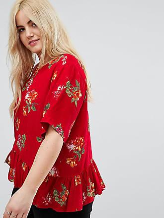 Rojo Asos Bajo Curve Camiseta Estampado En Asimétrico El Con Y De Design Floral Volante wqBTaxFwA