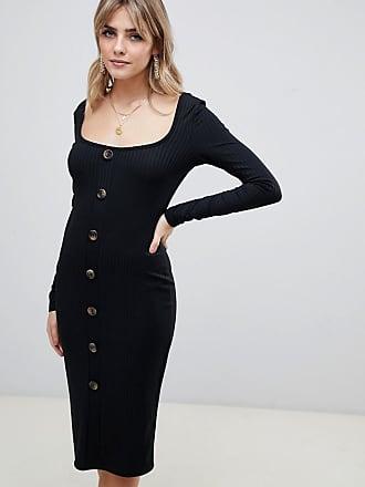 Abotonado Con Midi Boohoo Ajustado Canalé Vestido Diseño De Negro En FqAFEr