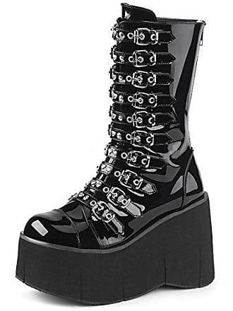 Lack Higher Demonia 50 36 Plateau Gr heels Kera Schwarz Damen Stiefel FFr07