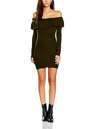 Para Mujer Bardot Frill Jumper Boohoo Medium Verde Longsleeve khaki Vestido XFwxaY