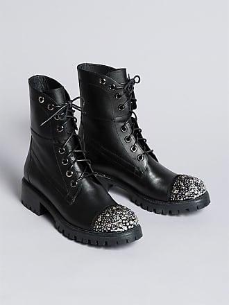 Strass Avec En Twin set Boots Cuir pnxqxRX0Ew