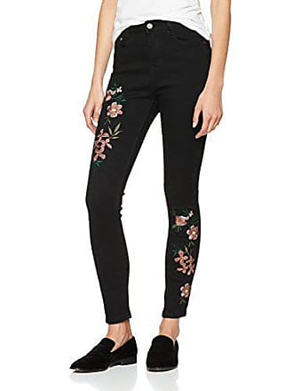 Skinny Para Embroidered Floral Negro Vaqueros 36 001 Mujer Quiz black OtI6xwpqq