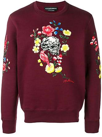 suéter floral Alexander rojo Mcqueen Skull estampado wtwqISnfW