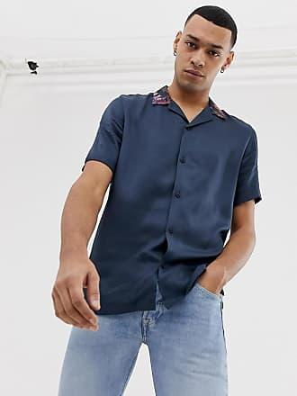 En Camisa Solapas Floral Design Asos Con Cuello De Satén Estampado Estándar Corte Y R8dqwdI