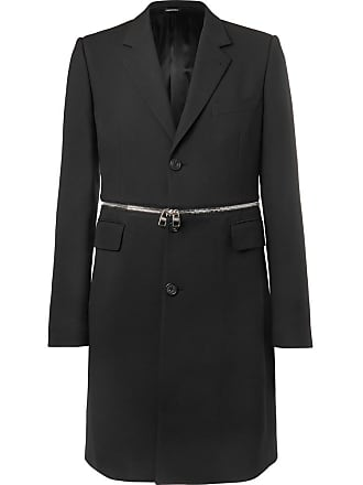 Slim Black Zip fit blend Mcqueen Wool Coat Alexander trimmed BwTv75qR