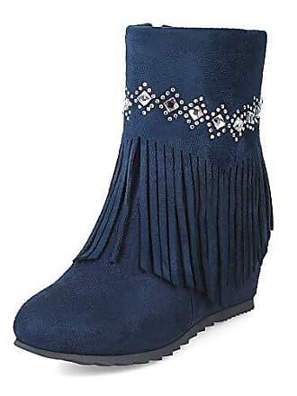 Kurzschaft Reißverschluss Eu Keilabsatz Blau 38 Damen Muster Mittelhoher Mit Aisun Fransen Strass Stiefel nwP0Ok
