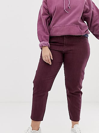 StreifenIn Asos jeans Mehrfarbig Mom DesignRitson Ochsenblutrot Mit Und Curve Steife Nahtdetail ymn80NwOv