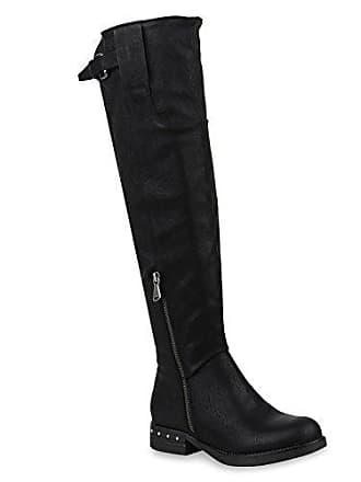 Damen Reiterstiefel Schwarz Gefütterte Stiefel Stiefelparadies 152900 optik Schuhe Leicht Carlton Leder Flandell Boots Black 38 dEvggqRx