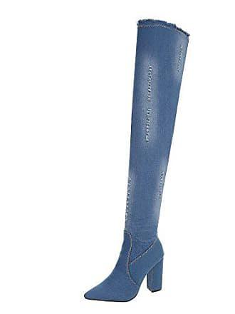 Gr Reißverschluss design Hellblau 223 37 Heels High Damen schuhe Overknees Ital Od Pump Stiefel Fqwv61nx