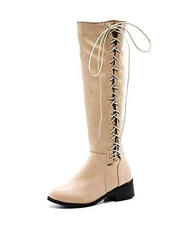 Knee Belt Zipper High Buckle Kaloosh Womens Toe Round Boots Fashion Strap Comfort Winter nPNwOkX80Z
