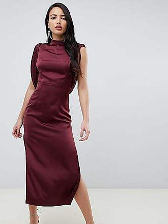 En Sur Avec Fente Rouge Et Robe longue Côté Mi Asos Design Le Effet Drapé  Satin 70af7911fb60