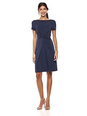 Sleeve Ro Crepe Twist Short amp; Knit Dress Marino Lark Xl Vestido Center Azul XwgqBpf