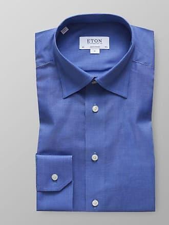 Blaues Fischgrat Fit Flanellhemd Contemporary Eton x8BwEE