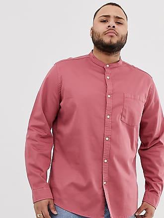 Asos Estándar De Design Con Camisa Corte Henley Vaquera Rosa Elástico Cuello ZwqZUrx