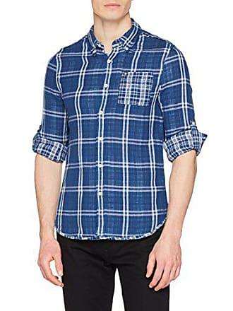 uomo Yd blu Double M Lc74 Camicia per Guess blu casual Check Macro Xq0OdO