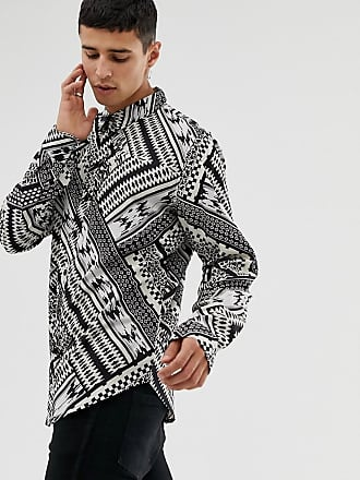 Aztekenprint Hemd Influence Another Langarmliges Mit Schwarz Hqaw4px