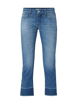 Stone Flared Closed Washed Cut Jeans lFJTcuK31