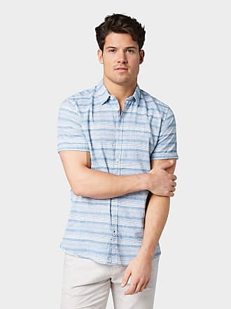 Aus Blau »hemd Kurzarmhemd Mittelblau Tom Tailor Normalgrößen Leinengemisch« CBvqvTRw