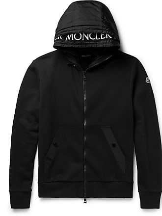 Moncler back jersey Fleece trimmed Hoodie Black Cotton Shell Oz1qvwrxfO