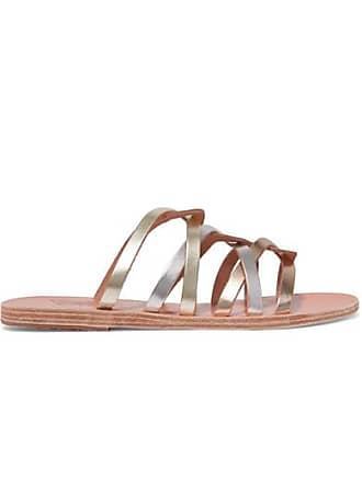 Argenté Cuir Donousa Métallisé En Sandals Greek Sandales Ancient I0xfqB70wT