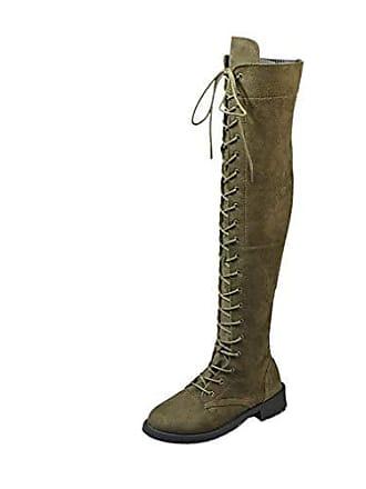 Stiefel Damen 38 Schnürsenkel Kleidung Yuch Kniehohe grün Stiefeletten wUEPHq