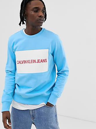 Cuello Recuadro Y En Logo Sudadera Klein Redondo Ajustada Claro Grande Azul De Jeans Calvin Con x1wv8CUq1z