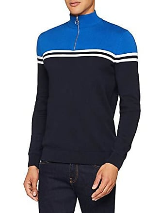 New Look Azul talla Suéter Blocked Del bright Chest Fabricante Para Zip Half 51 Hombre Blue Small ddnrX8