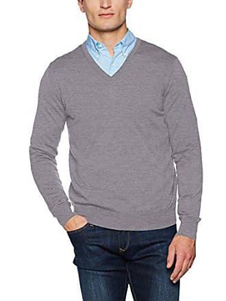 V Uomo Gant Fine Neck Melange Grigio Wool Mens Felpa Merino grey Hw4Z4qRU6A