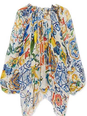 Gabbana amp; Mousseline De Bleu Blouse Dolce Imprimée En Soie 6gqq5