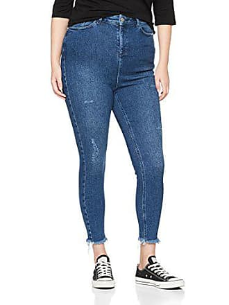 Abrasion Skinny 54 New mid Curves Look Jean Femme Blue 7xffpHqCw