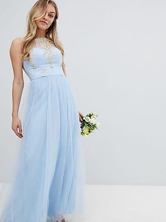 Escote Premium Falda Y De Vestido Bardot Sin London Chi Petite Largo Mangas Encaje Con Tul UnBx06q