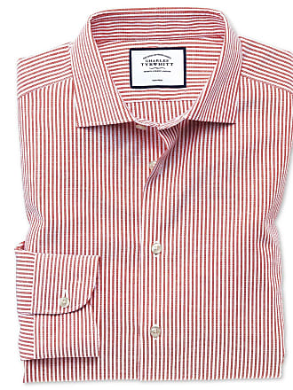 Business Extra Charles Streifen Rot Bügelfrei hemd Fit Baumwolle casual Slim Mit Knopfmanschette In leinen Tyrwhitt QCWrdeoBx