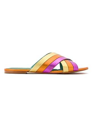 Leather Rainbow Metallic Jaune Bird Shoes Flats Blue wq7RtpB