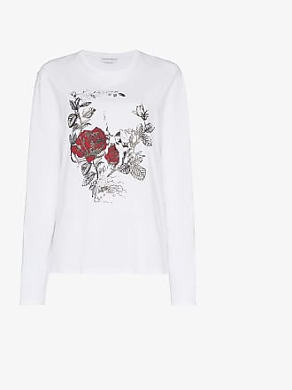 T Long Skull Gothic Alexander Rose Cotton Shirt Mcqueen Sleeve Print w8ATY1
