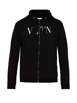 Blend Print Vltn Hooded Cotton SweatshirtMens Logo Black Valentino qzMpGUVS