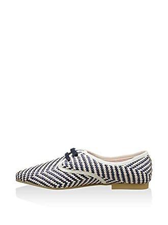 Zapatos Azul Blucher Salou Bisue Eu blanco Ballerinas Cordones Marino De 35 57wqxnS4xU