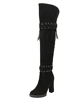 Stiefel Overknee High Uh Fransen Fashion Plateau Damen Mit Blockabsatz Boots Heels Langschaftstiefel SBqRqExCw
